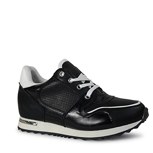 St003 Damen Glitzer Schwarz Sneakers Turnschuhe Glanz Keilabsatz I88n4qw1