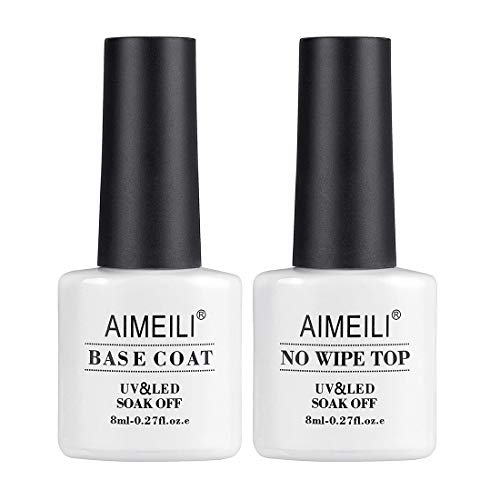 AIMEILI Top e Base coat Semipermanente Smalto Semipermanente per Unghie in Gel Soak Off UV LED Smalti Gel per Unghie Kit Semipermanente Unghie Kit per Manicure 2 x 8ml