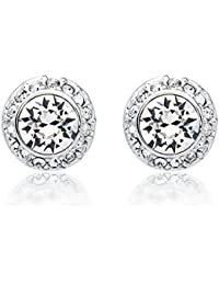 MYJS Angelic Rhodium Plated Classic Stud Earrings with Clear Swarovski Crystals