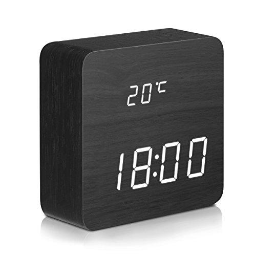 DIGOO LED Digital Wecker mit 3 Gruppen Alarm Einstellung, Temperatur Zeit und Datum Display, 3 Einstellbare Helligkeit, Sprachsteuerung, 2 Modi Display - Temperatur Mit Schreibtisch-uhr