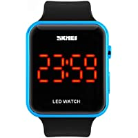 Amstt muchachos de los hombres del reloj digital muchachas de las mujeres de 30 metros impermeable de los deportes del reloj rectangular neutra LED (azul de los relojes)