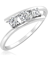 Real Solid 18KT White Gold Hallmarked And Diamond Ring For Women Jewellery - B07CKZNGLV