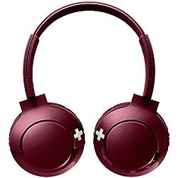 Philips BASS+ SHB3075RD Casque Bluetooth avec Micro, Commandes Volume et Appel, Pliable, 12h d'Autonomie, Rouge