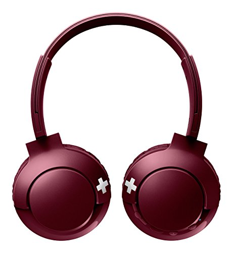 Philips Audio SHB3075RD/00 On-Ear Kopfhörer Bluetooth (Bass+, Kabellos, Bluetooth, Mikrofon, 12 Stunden Akku) rot