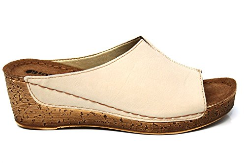 INBLU Femme Mule en cuir Wedge plate-forme d'été Sandales Taille 3–8 Beige - beige
