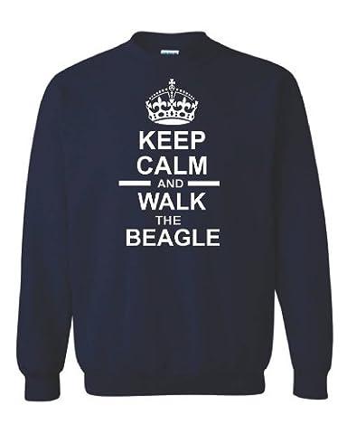 Keep Calm & Walk The Beagle Unisex Sweatshirt Jumper In Navy Blue & White Motif 3