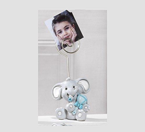 Bomboniera battesimo clip portafoto elefante celeste, 24 pezzi,4,5 cm in resina by paben