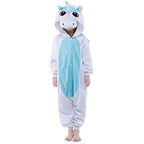 Pyjamas Kinder Einhorn Kostüm Jumpsuit Tier Schlafanzug Cosplay Karneval Fasching (XXL: für Höhe 135-144 cm, Unicorn blau)