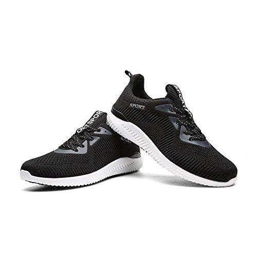 Gomnear Chaussures de course Hommes Poids léger Respirant Lacer Décontractée Mode Baskets Athlétique Des sports Chaussures Noir