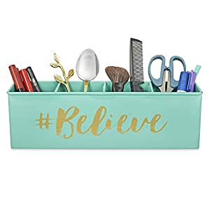 Elan Believe All In One Multifunctional Office Supplies Desk Organizer- Aqua