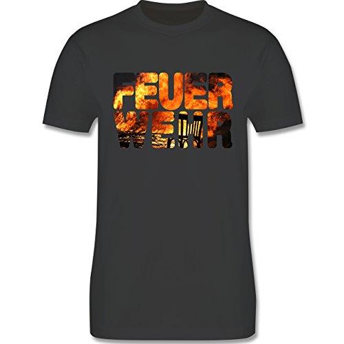 Feuerwehr - Feuerwehr Flammen - Herren Premium T-Shirt Dunkelgrau