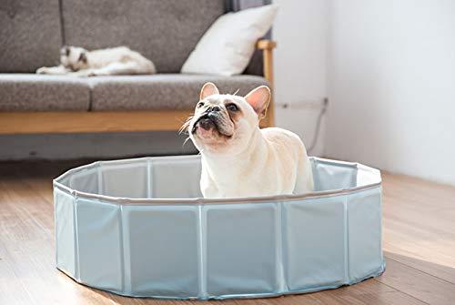 Piscina para Perros Y Gatos Perro Gato Baño Olla Mascota Bañera Plegable Natación Azul Cielo 80 * 20Cm
