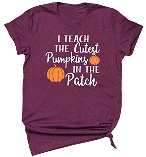 I Teach The Cutest Pumpkins in The Patch Halloween-T-Shirt, lustiges Kostüm, kurzärmelig - Rot - (Pumpkin Patch Kostüm)