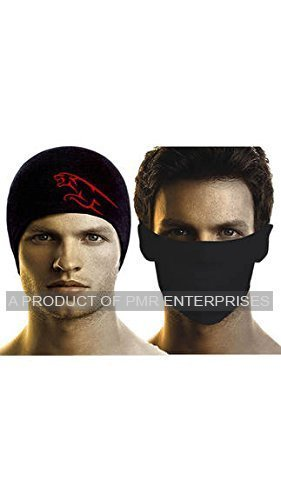 Bikers Gear Combo of Anti-Pollution Mask and Skull Cap (Black)