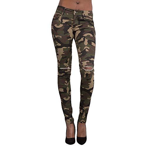 MCYs Frauen Mitte taillierte dünne Camouflage Loch Stretch dünne Hosen Kalb Länge Hosen - Kalb Länge Hosen