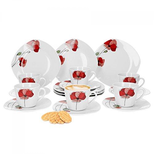 Van Well Monika 18-tlg. Kaffeeservice, für 6 Personen, Kuchenteller + Kaffeetasse und Untertasse im Set, Blumendekor, Geschirrzubehör, edles Marken-Porzellan