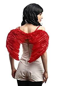DRESS ME UP RH-027-red Halloween Carnaval Cosplay Ailes Plumes Rouges Ange maudit Démon Diable Lucifer Fée Gothique