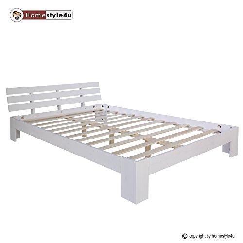 Schlafzimmer-futon-rahmen (Homestyle4u 1821 Holzbett Doppelbett Futonbett 140x200 weiß Kiefer Bett Bettgestell Massivholz)