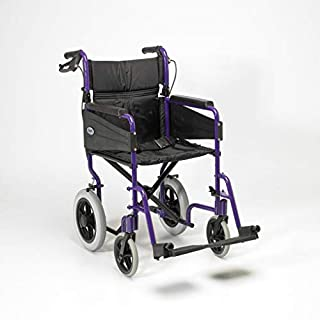Days Escape Lite Aluminium Wheelchair, Lightweight and Foldable Frame, Attendant-Propelled Wheelchair, Portable Transit Travel Chair, Removable Footrests, Standard, Purple