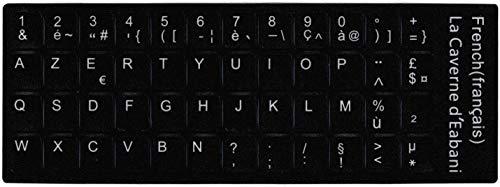48 Letras blancas adhesivas Azerty teclado frances