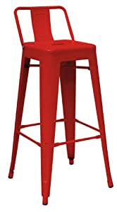Premier Housewares Metal Powder Coated Chair, 94 x 44 x 44 cm - Red, Set of 4