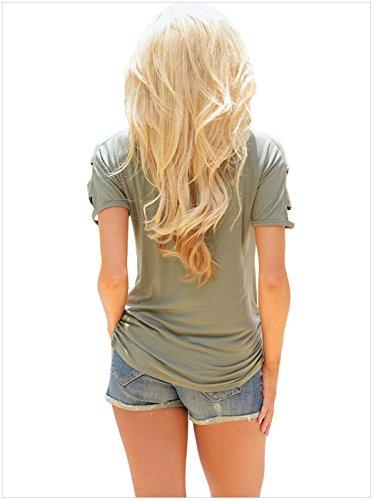 szivyshi Sexy Manches Courtes Encolure Profonde Col en V Cold Shoulder Épaules Dénudées Épaule Dénudée Ladder à Découpes Ajourée Ruché Froncé Côtés T-Shirt Tee Haut Top Vert