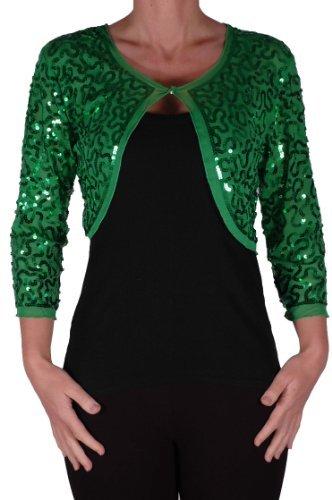 EyeCatch - Scarlett Sequin Chiffon Long Sleeve Top Bolero Shrug Cardigan Green Medium (Cardigan Crochet Knit)
