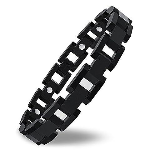 COOLMAN Titanium Magnetic Bracelet Adjustable Therapy Bracelet with Link Removal