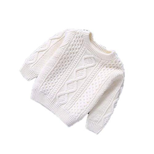 Children Baby Boys Cotton Warm Pullovers Plush Inside Sweaters Girls Winter Autumn Knitted Loose Jacket White 10