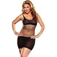 Lap Dance, Women's Fence Net Mini Dress, Queen Size, Black