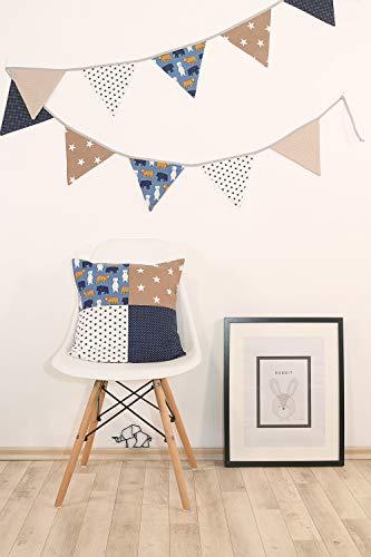 ULLENBOOM ® Patchwork Kissen 40x40 cm mit Füllung Sand Bär (100% Baumwolle, ideal als Dekokissen oder Kinderzimmer Zierkissen, Motiv: Sterne)