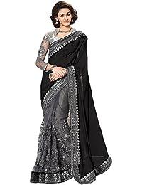 Regent-e Fashion Women's Net Saree (Black & Grey)