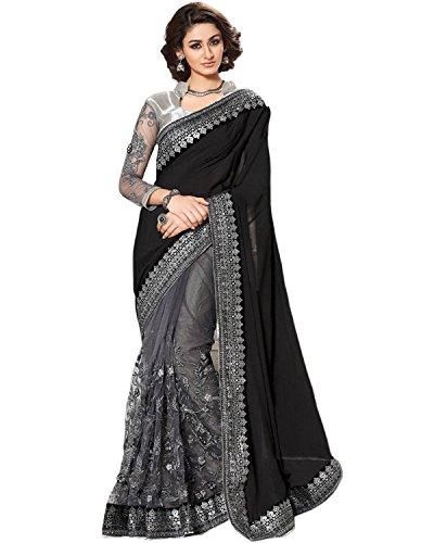 Regent-e Fashion Women\'s Net Saree (Black & Grey)