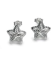 Style Objetivo – Pendientes Anillo Pendientes Filigrana Estrella Estrella  de mar plata 25 mm 1787 caf96b55095