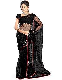 SARGAM FASHION Women's Net Saree With Blouse Piece (Srf-17_Black)