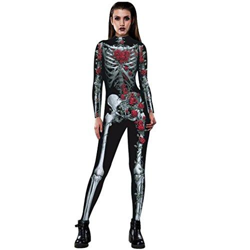 Bescita donne rose scheletro movimento atmungs halloween party fantasia giocare abbigliamento, nero