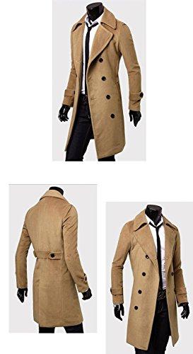 hsworld® Herren Jacke Peacoat Herren Trench Coats Mäntel Coat grau schwarz camel braun Gr. L, Beige - Beige (Double-breasted Jacke Peacoat)