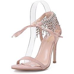 YEEY Damen Sommer Pumps High Heel Sandalen Wildleder Armband Strass Club Bankett Work Shopping , apricot , 36