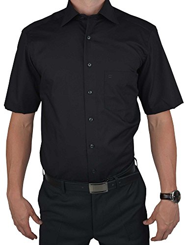 Olymp Luxor Herren Modern Fit Hemd, 0300/12/68, Halbarm, Schwarz, 48