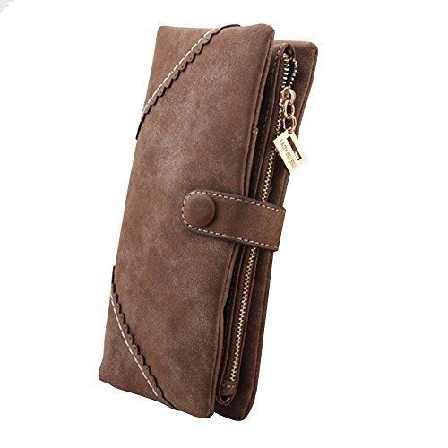 Cozyswan Mode Leder Geldbörse Geldbeutel mit Knopf Damen Lange Damenhandtasche Portemonnaie - Coffee Braun (Portemonnaie Damen Fossil)