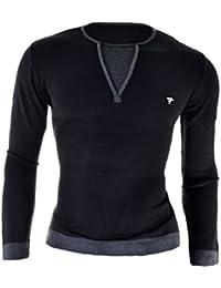 D&R Fashion Hommes Sweat Noir élégant collier Slim Fit Casual Jumper M-2XL