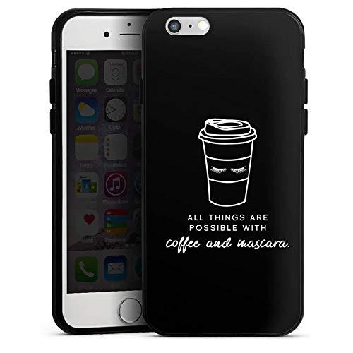 DeinDesign Silikon Hülle kompatibel mit Apple iPhone 6s Case Schutzhülle Mascara Kaffee Spruch