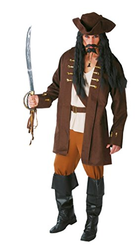 Mens Captain Jack Caribbean Pirate TV Film Fancy Dress Costume Outfit Large (Large)