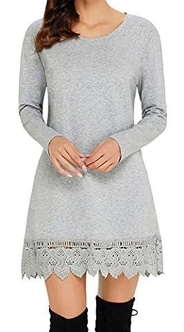 Angerella Damen Lange Ärmel Kleid Tunika-Oberteile Lace Hem Mini Kleider(Grau,X-Large)