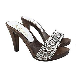 Clogs aus Leder Weiß für Damen – K22401 BIANCO