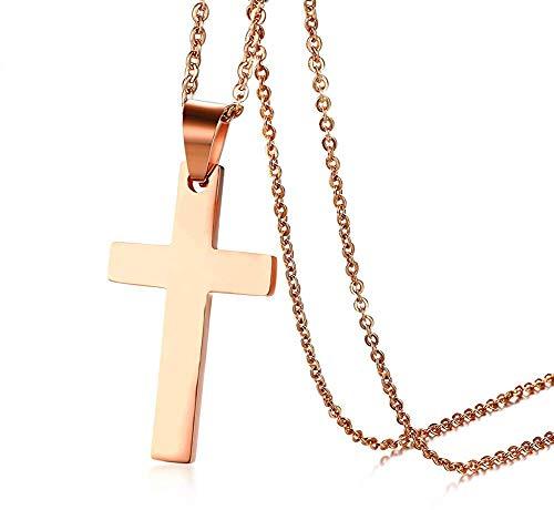 XBYEE Schmuck Christian Kreuz Anhänger Halskette mit Kette Frauen der Männer Edelstahl einfache Art (Christian Für Fisch-ringe Männer)