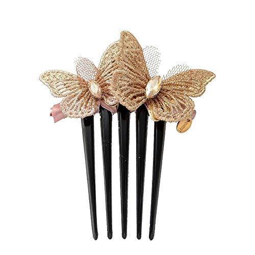 Steckkämme Für Die Haare Gestickte Schmetterling Haar Kamm Kamm Kamm Pony Kamm Stoff Haar Plug - Gesticktes Pony