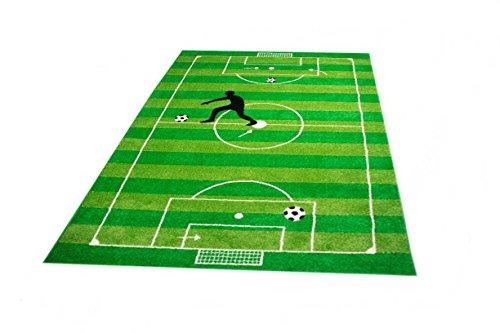 Kinderteppich Spielteppich Jungen Kinderzimmer Teppich Fußball grün Größe 80x150 cm