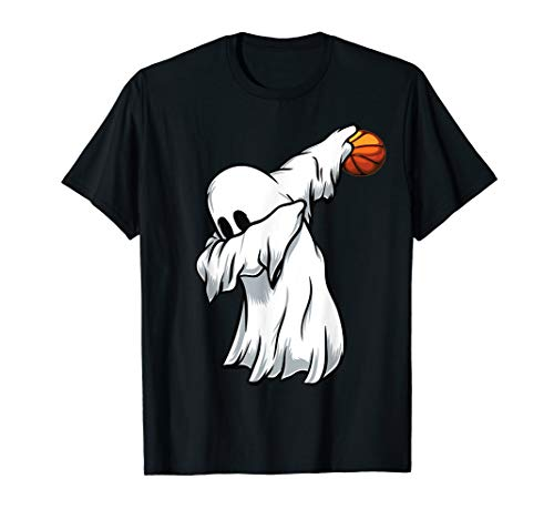 eeedb2c204339e Basketball Ghost Dabbing Men Boys Kids Funny Halloween Dab T-Shirt