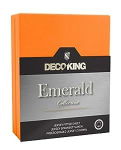 DecoKing 18477 Wasserbett Spannbettlaken 120 x 200 - 140 x  200 cm Jersey Baumwolle Spannbetttuch Emerald Collection, orange